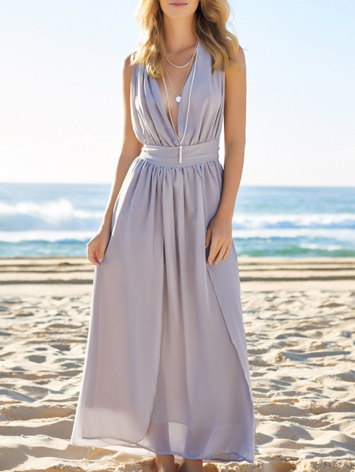 Plunging Neck Sleeveless Solid Color Self-Tie Maxi Dress