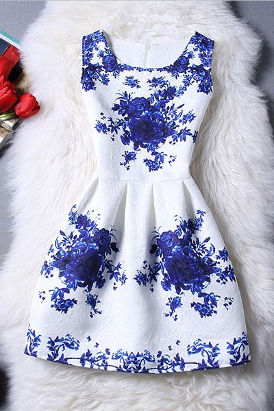 Sleeveless Blue Rose Dress - BLUE/WHITE M