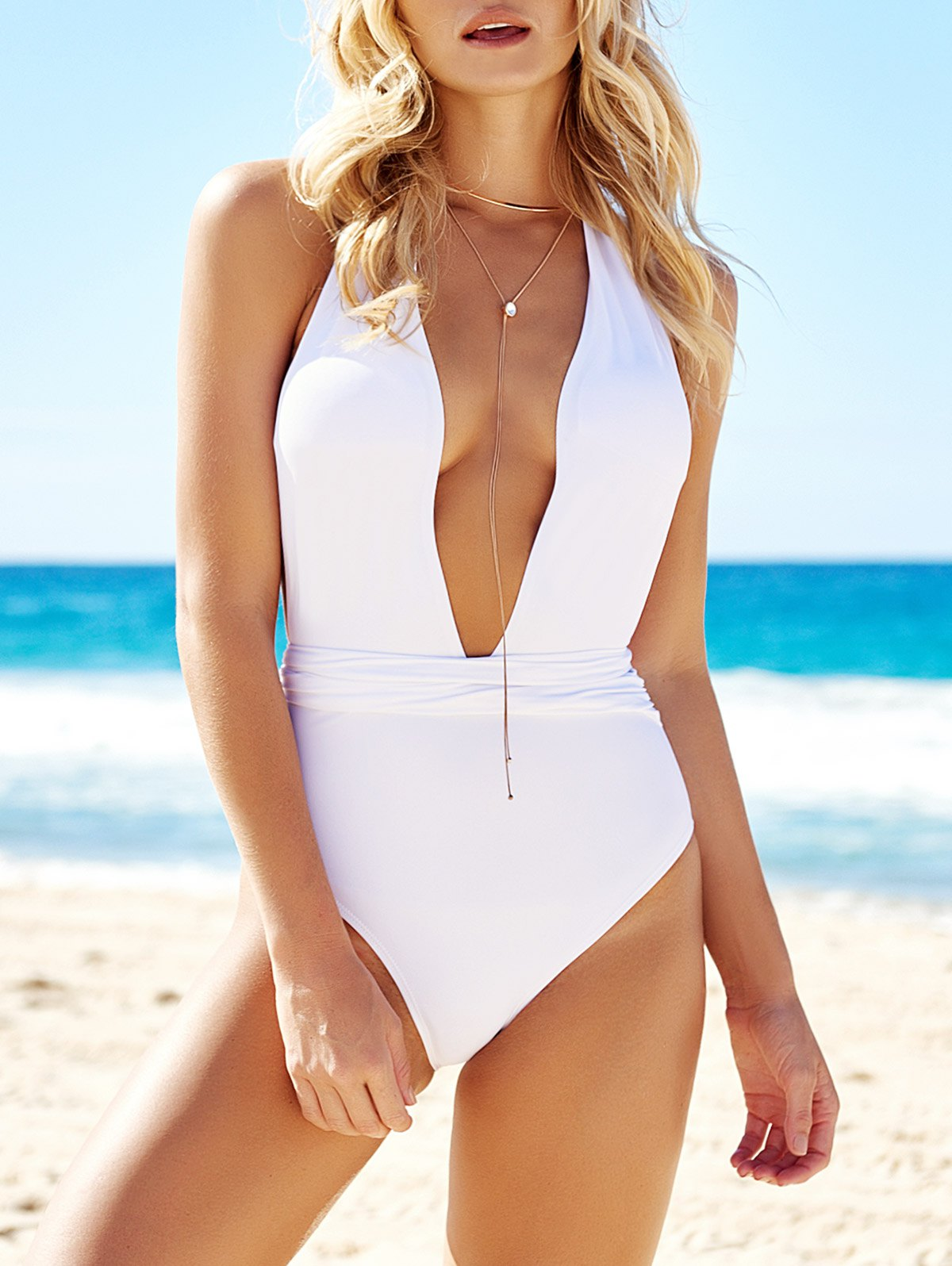 Halterneck Low Cut Solid Color One-Piece Swimwear