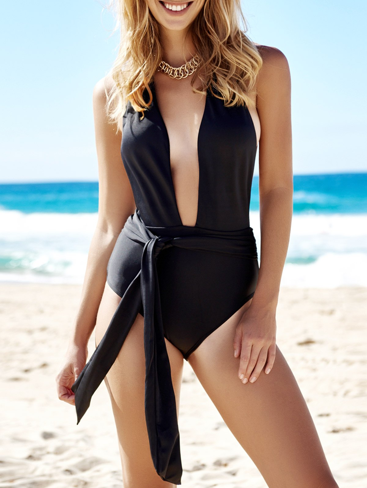 Halter Neck Solid Color Low Cut One-Piece Swimwear