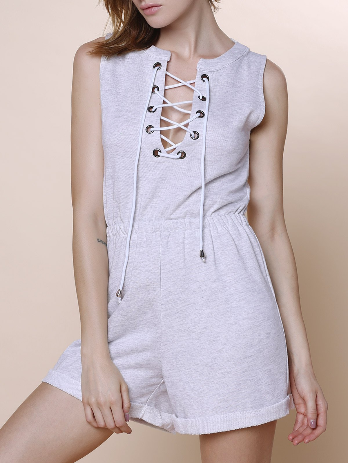 Lace-Up Sleeveless Playsuit
