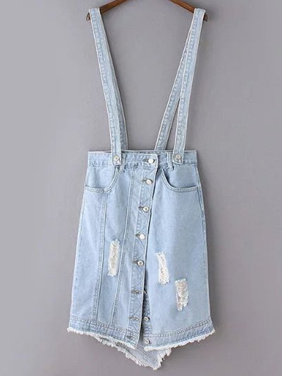 ripped denim suspender skirt light blue denim bottoms zaful