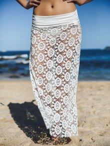 Solid Color Lace Cover Up Skirt - White