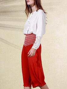 Embroidery High Waist Ninth Pants