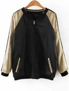 Embroidered Reversible Satin Bomber Jacket - BLACK/GOLDEN L
