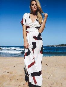 Short Sleeve Loose Maxi Dress - WHITE S