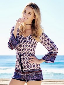 Ethnic Print Long Sleeve Playsuit - COLORMIX S
