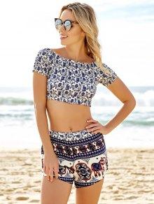 Slash Neck Crop Top and Ethnic Print Shorts Suit - BLUE S