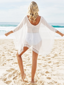 See-Through Lace Edging Half Sleeve Cover-Up - WHITE ONE SIZE(FIT SIZE XS TO M)