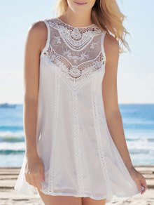 Spliced Hollow Out White Chiffon Dress