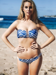 Strapless Blue and White Bikini Set - BLUE S