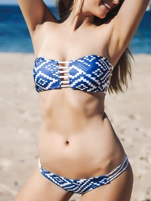 Strapless Blue and White Bikini Set
