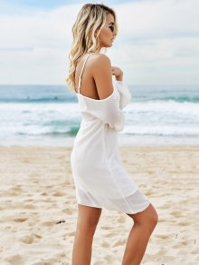 Spaghetti Strap Long Sleeve Asymmetric White Dress