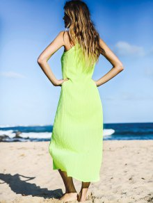 Solid Color Spaghetti Strap Sleeveless Maxi Dress - NEON GREEN ONE SIZE(FIT SIZE XS TO M)