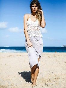 White Lace Cami Top + Gray Asymmetric Pencil Skirt Twinset - GRAY S