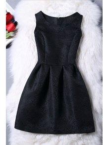 Sleeveless Jacquard Mini Dress - Black