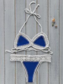 Hollow Out Spaghetti Strap Crocheted Bikini Set