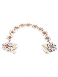 White Daisy Hair Comb - White