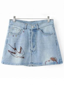 Swallow Embroidery Denim Skirt