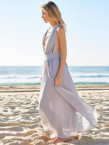 Plunging Neck Solid Color Maxi Dress