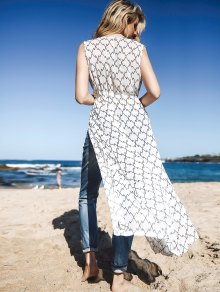 Print Sleeveless Cover Up - WHITE ONE SIZE(FIT SIZE XS TO M)