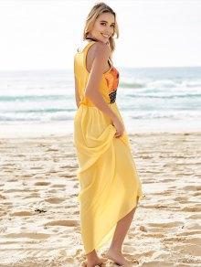 Color Block Print Sleeveless Maxi Dress