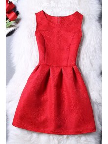 Sleeveless Jacquard Mini Dress - Red L