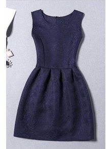 Sleeveless Jacquard Mini Dress - Purplish Blue M