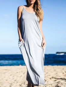 Baggy Style Maxi Tank Dress With Pockets - Gray Xl