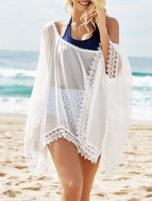 See-Through Lace Edging Half Sleeve Cover-Up - White