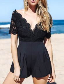 Lace Spliced Plunging Neck Open Back Playsuit - Black