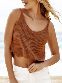 Sleeveless Khaki Knit Women's Crop Top - Khaki
