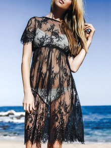 See-Through Round Neck Short Sleeve Lace Dress - Black