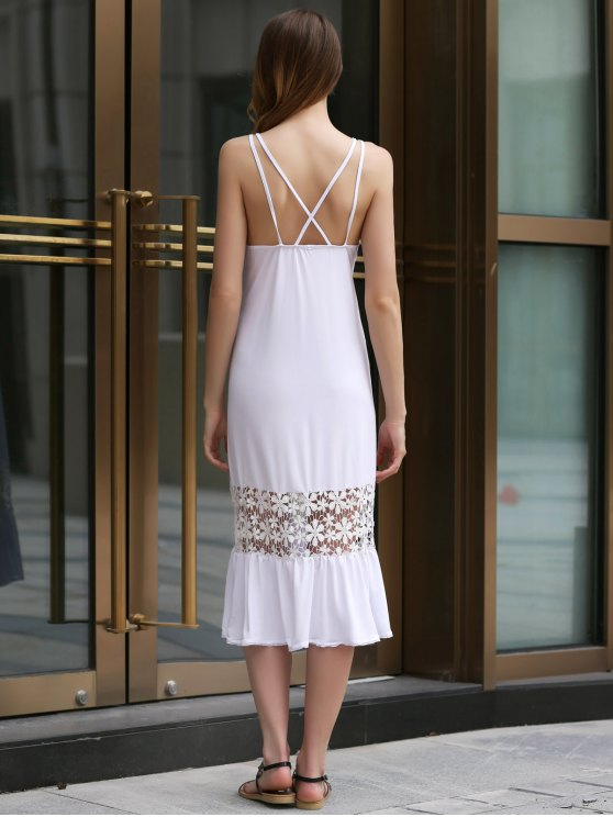 White Lace Splice Spaghetti Straps Dress - WHITE ONE SIZE(FIT SIZE XS TO M) Mobile