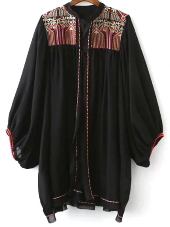 online Retro Embroidery Stand Neck Batwing Sleeve Blouse - BLACK S