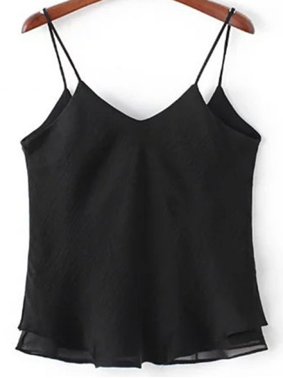 Double-Layered Camisole Top - BLACK M Mobile