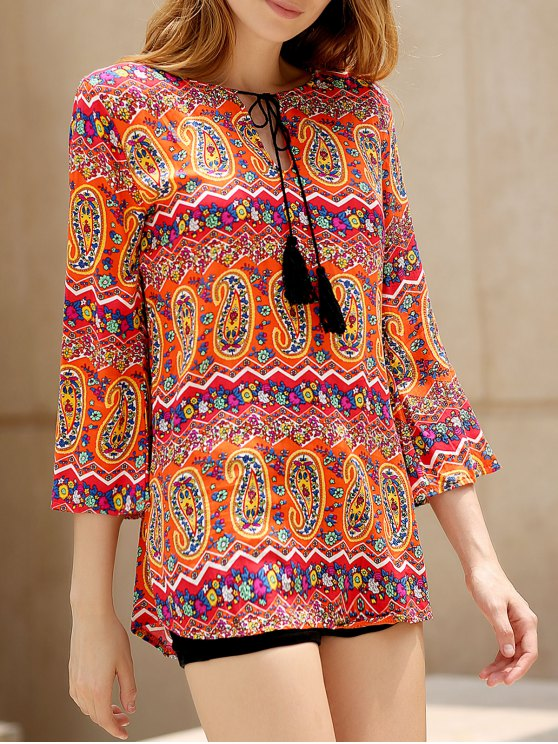 fancy Ethnic Print V Neck 3/4 Sleeves Dress - COLORMIX S