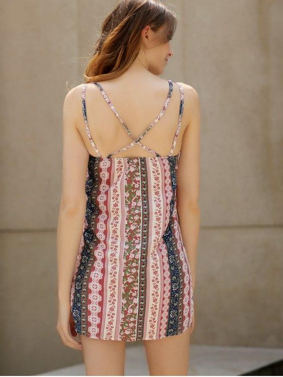 Double Strap Printed Slip Dress - PINK L Mobile