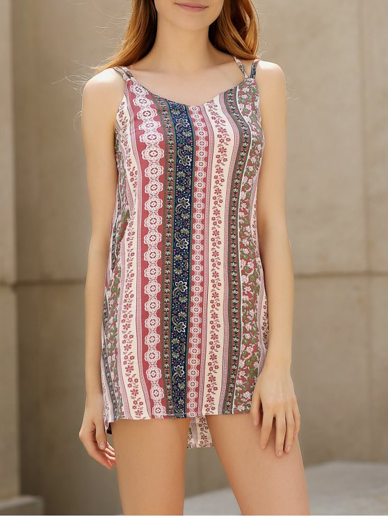 best Double Strap Printed Slip Dress - PINK L