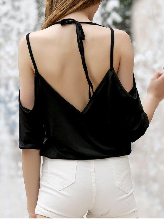 unique Cold Shoulder Plunging Neck Crossed T-Shirt - BLACK XL