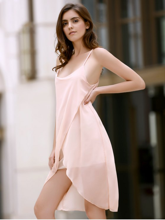 Irregular Hem Chiffon Cami Dress - APRICOT L Mobile