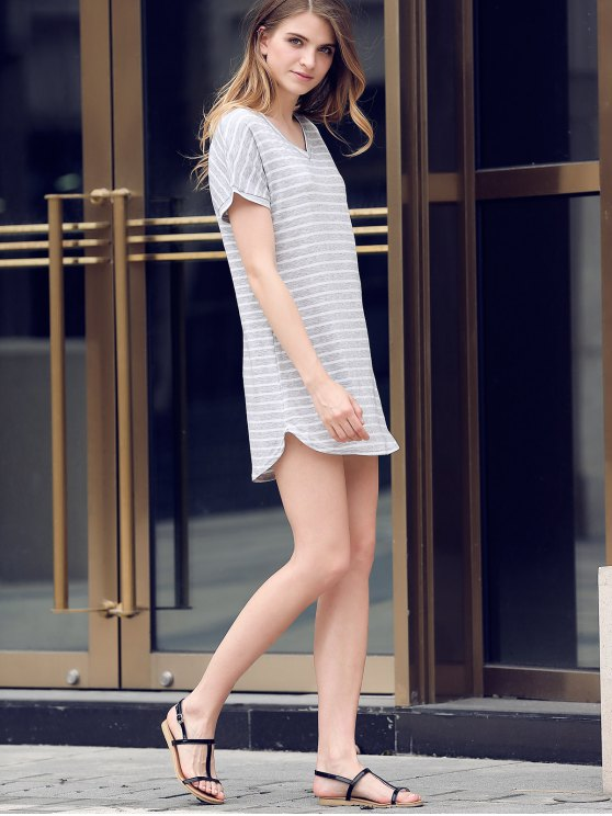 V-Neck Striped Tee Dress - GRAY M Mobile
