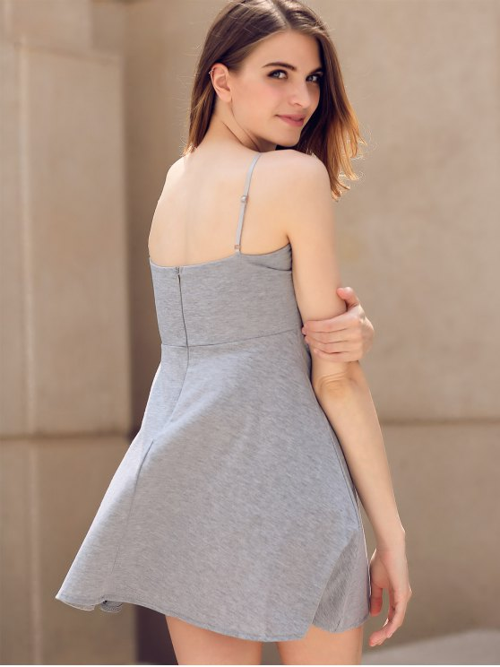 Fit and Flare Lace-Up Dress - GRAY M Mobile