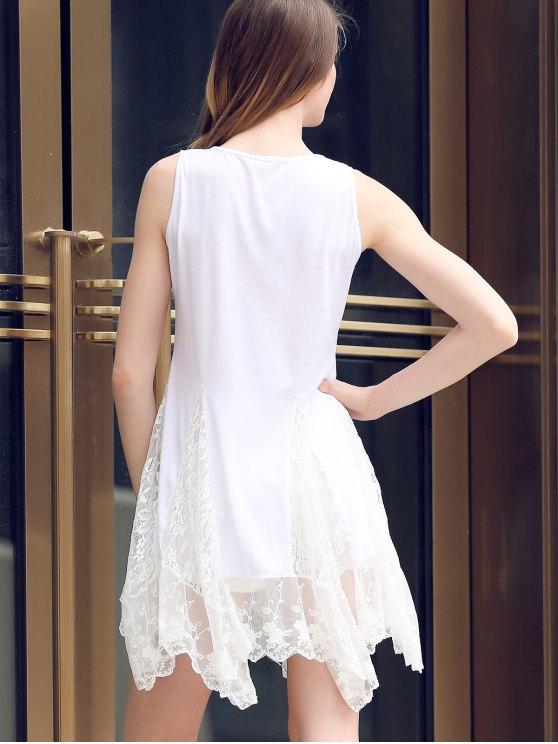 Lace Hem Swingy Tank Dress - WHITE S Mobile