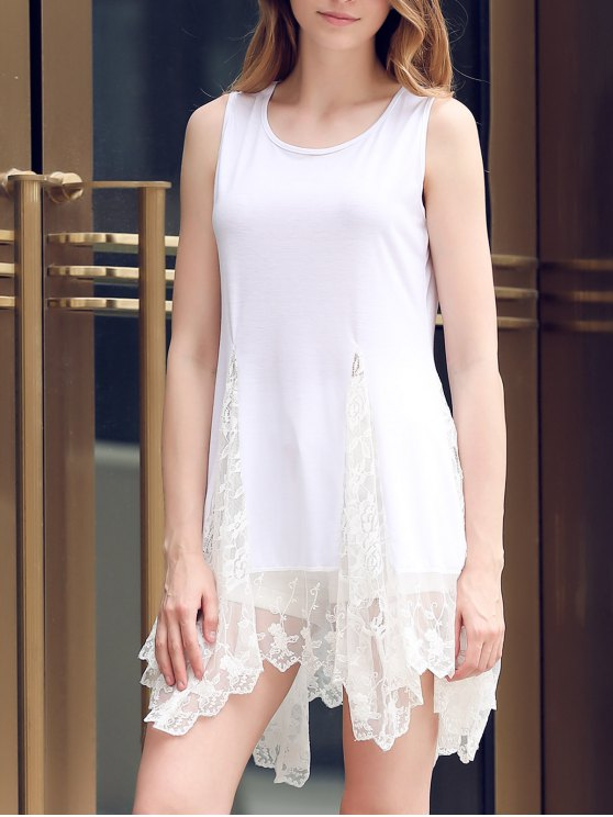 womens Lace Hem Swingy Tank Dress - WHITE M