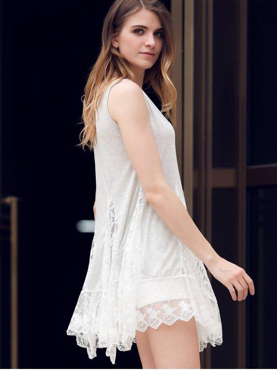 Lace Hem Swingy Tank Dress - LIGHT GRAY M Mobile