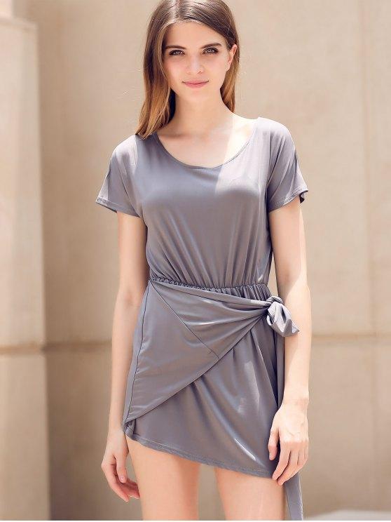 Tie Front Irregular Dress - GRAY S Mobile
