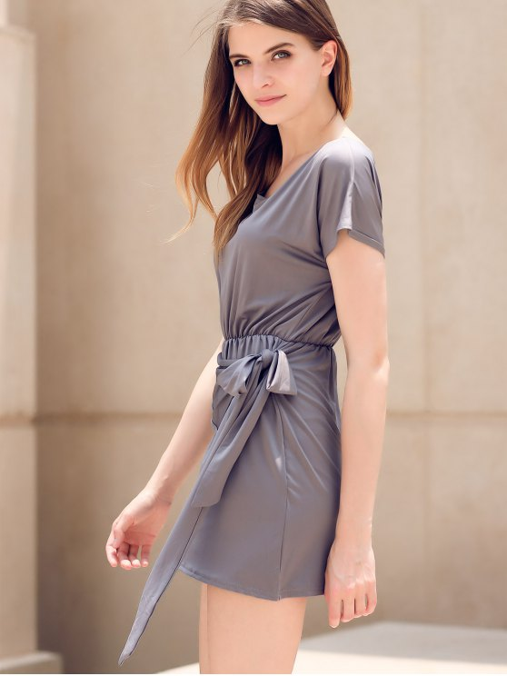 Tie Front Irregular Dress - GRAY M Mobile