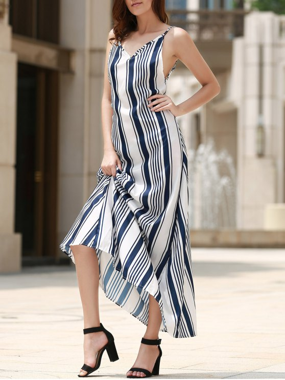 affordable Backless Vertical Stripe Beach Dress - BLUE AND WHITE S