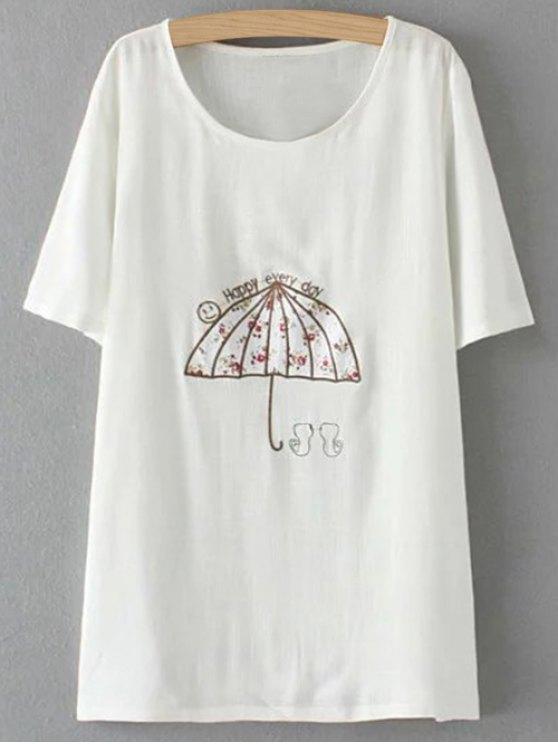 Más el tamaño del paraguas de la camiseta - Blanco 2XL